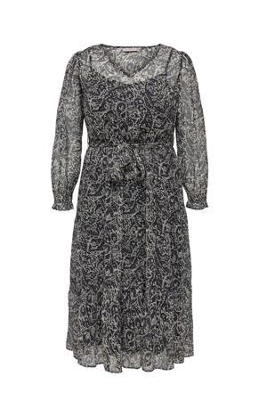semi-transparante A-lijn jurk CARIRENA van gerecycled polyester zwart/donkerblauw/wit