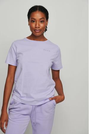 T-shirt met borduursels lila