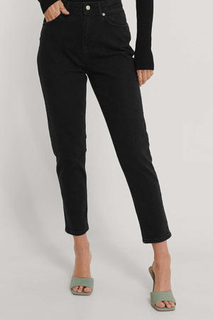 cropped high waist straight fit jeans black