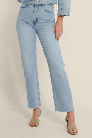 high waist straight fit jeans light blue