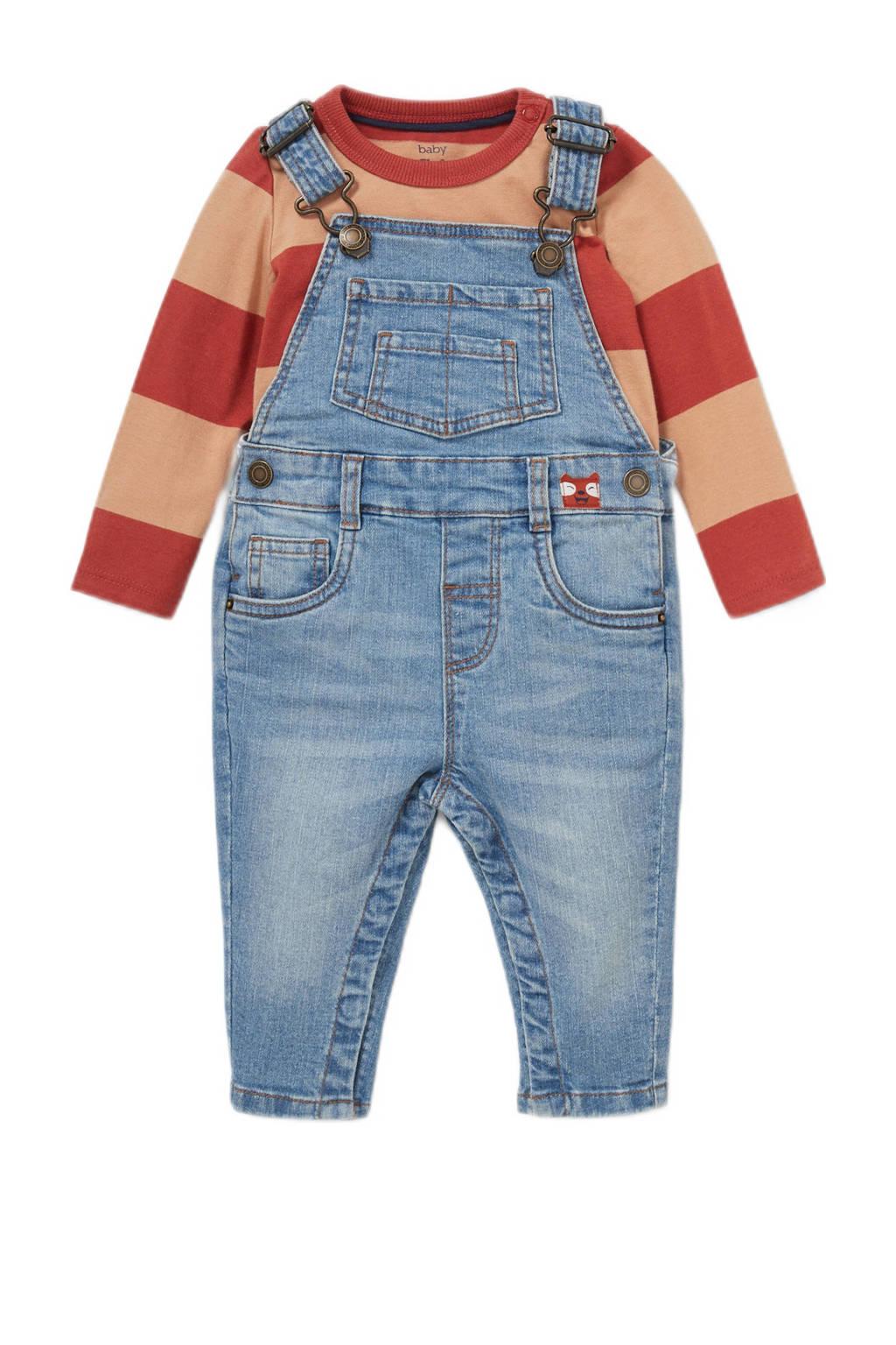 C&A Baby Club denim tuinbroek + longsleeve, Roodbruin/blauw