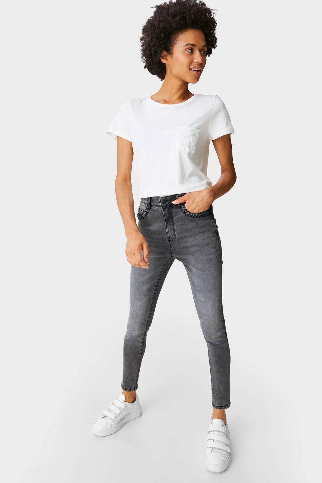 C&A high waist skinny jeans grijs, Grijs