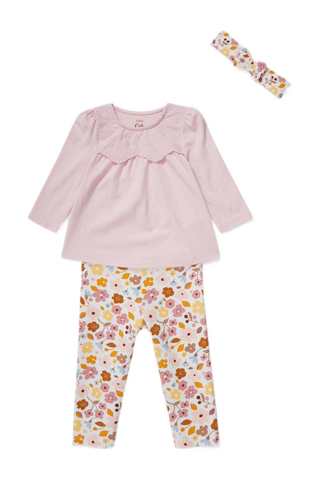 C&A Baby Club longsleeve + legging + haarband roze/wit/oker