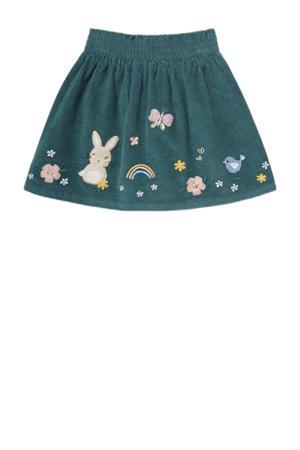 rok met printopdruk en borduursels groen