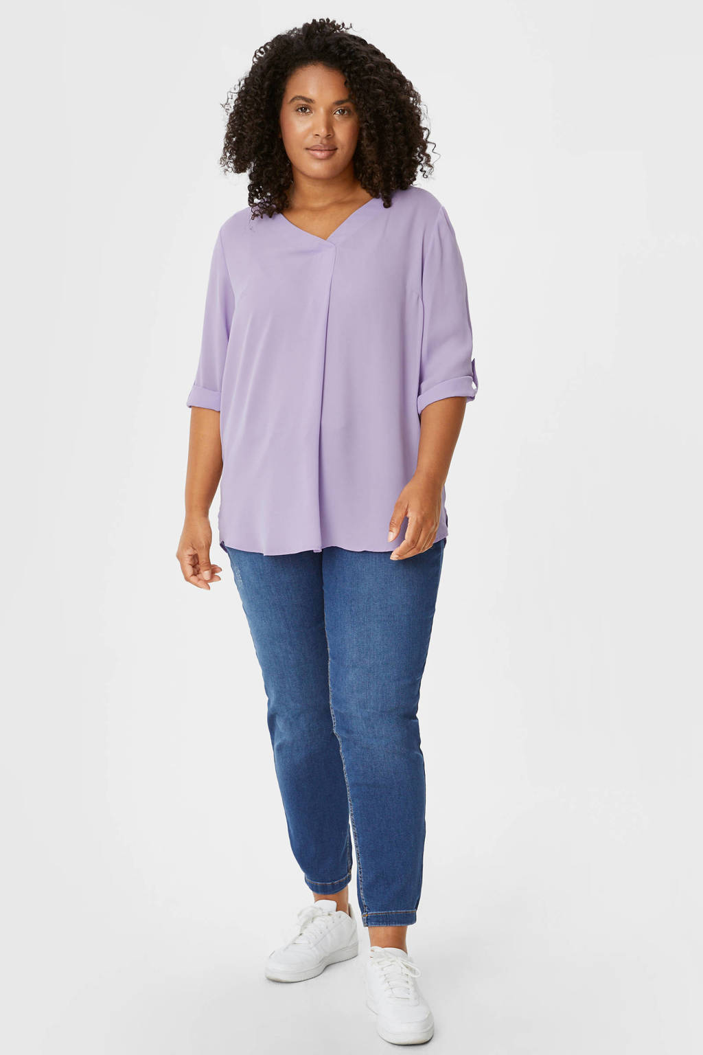 C&A blouse met plooien lila, Lila