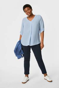 C&A blouse met plooien lichtblauw, Lichtblauw