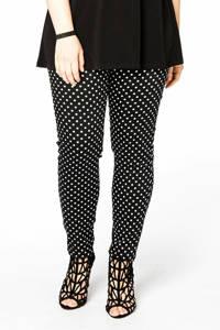 Yoek high waist skinny broek DOTS met stippen zwart/wit, Zwart/wit