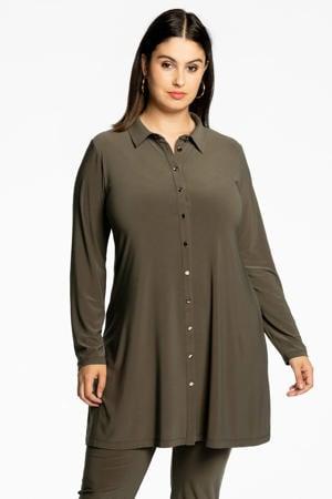 wijdvallende blouse met gouden knoopjes DOLCE olijfgroen