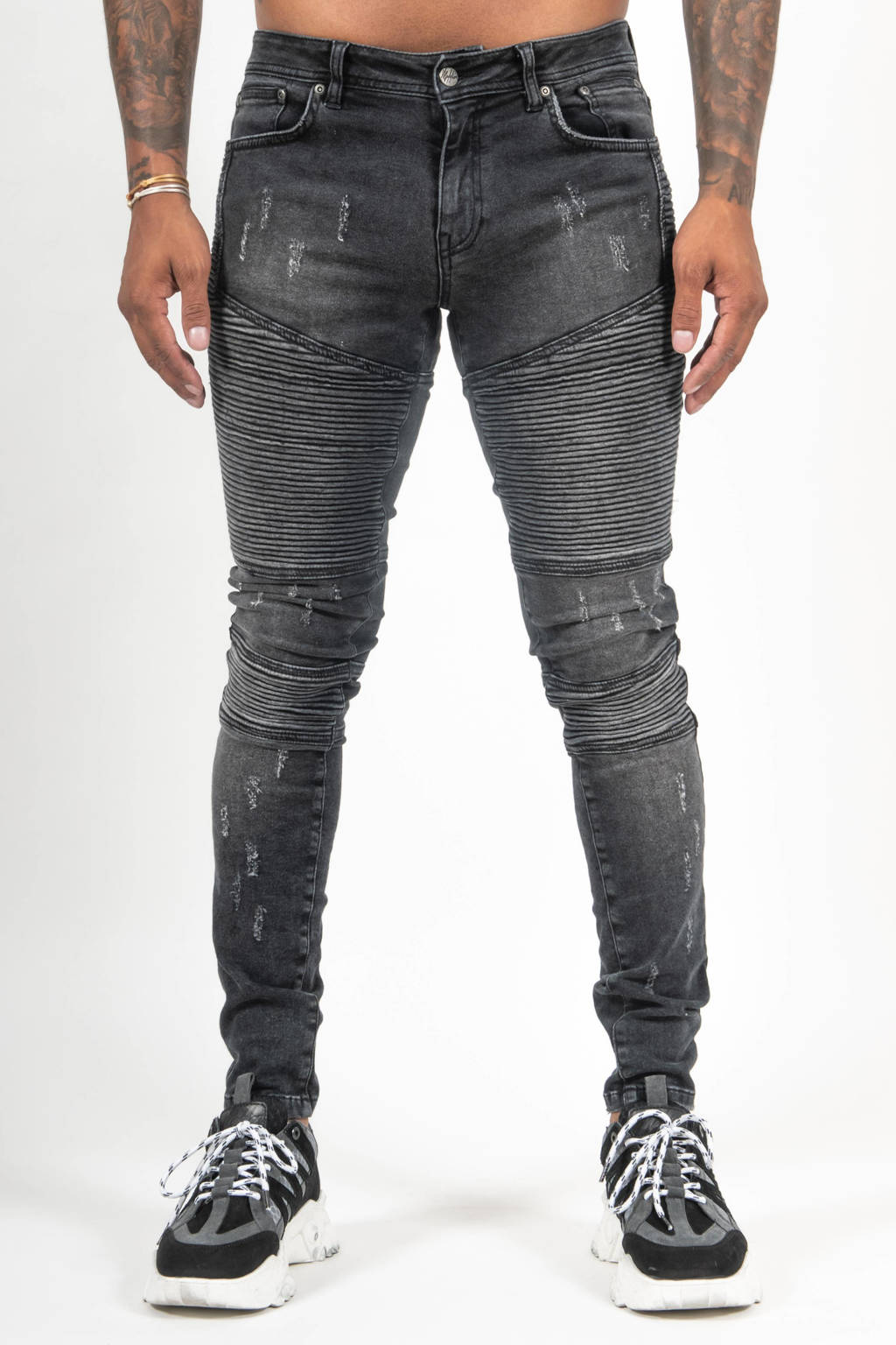 Malelions skinny jeans black, Black