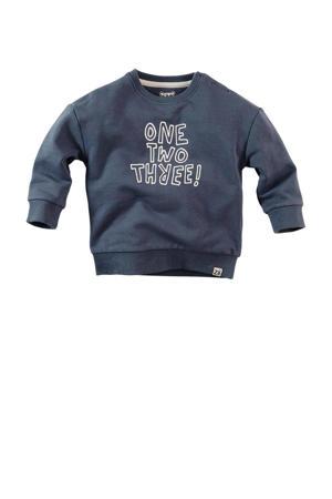 sweater Tito met tekst donkerblauw