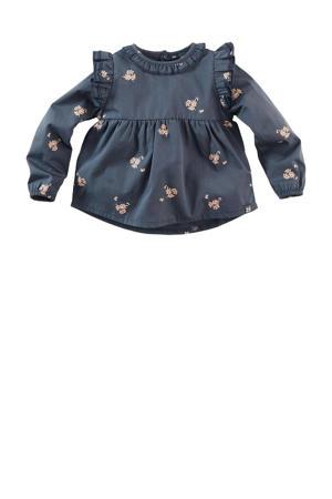 jurk Nani met all over print en ruches donkerblauw