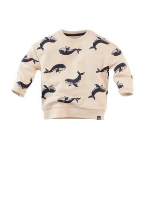 sweater Wally met dierenprint ecru/donkerblauw