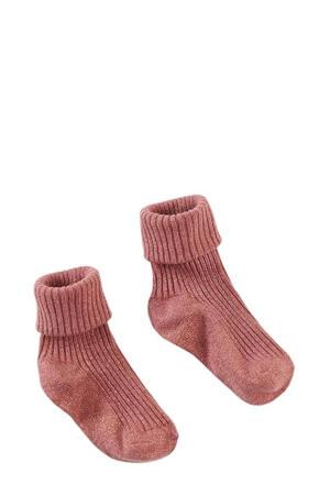 sokken met glitters Georgina oudroze