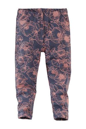 legging Noor met all over print donkerblauw/oudroze