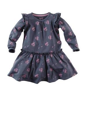 jurk Jane W21 met all over print en plooien donkerblauw