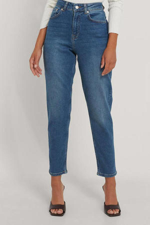 cropped high waist mom jeans mid blue