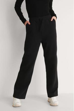 high waist straight fit broek zwart