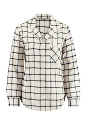 geruite pyjamatop Labello ecru/zwart