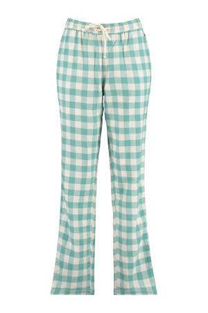 geruite pyjamabroek Labello mintgroen/ecru