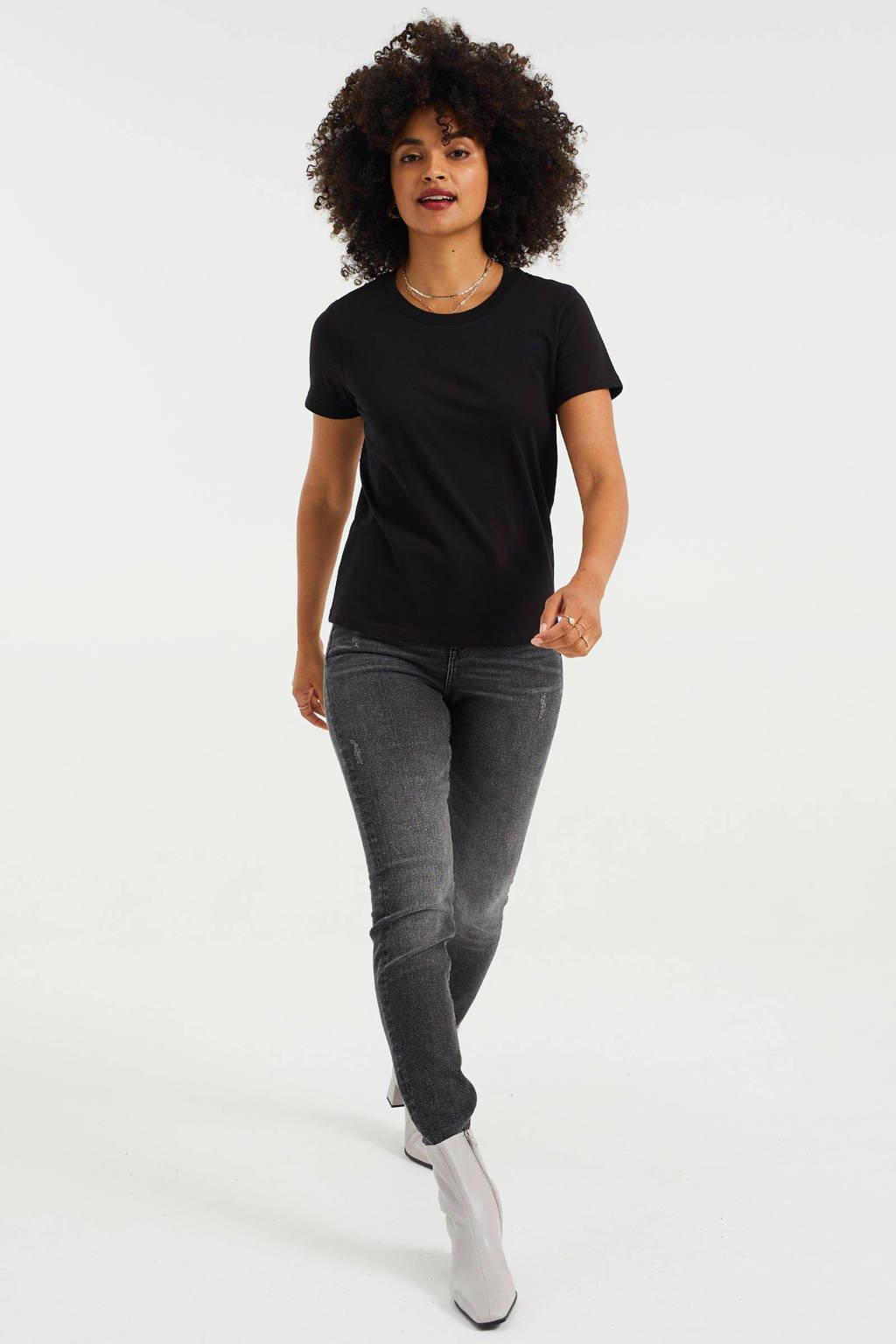 WE Fashion Basis T-shirt katoen zwart, Zwart