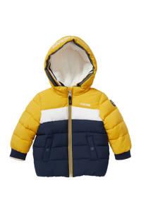 C&A Baby Club baby gewatteerde winterjas donkerblauw/geel/wit, Donkerblauw/geel/wit