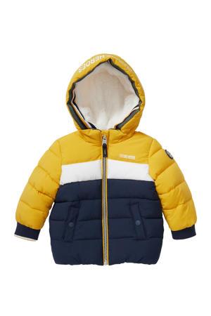 baby gewatteerde winterjas donkerblauw/geel/wit