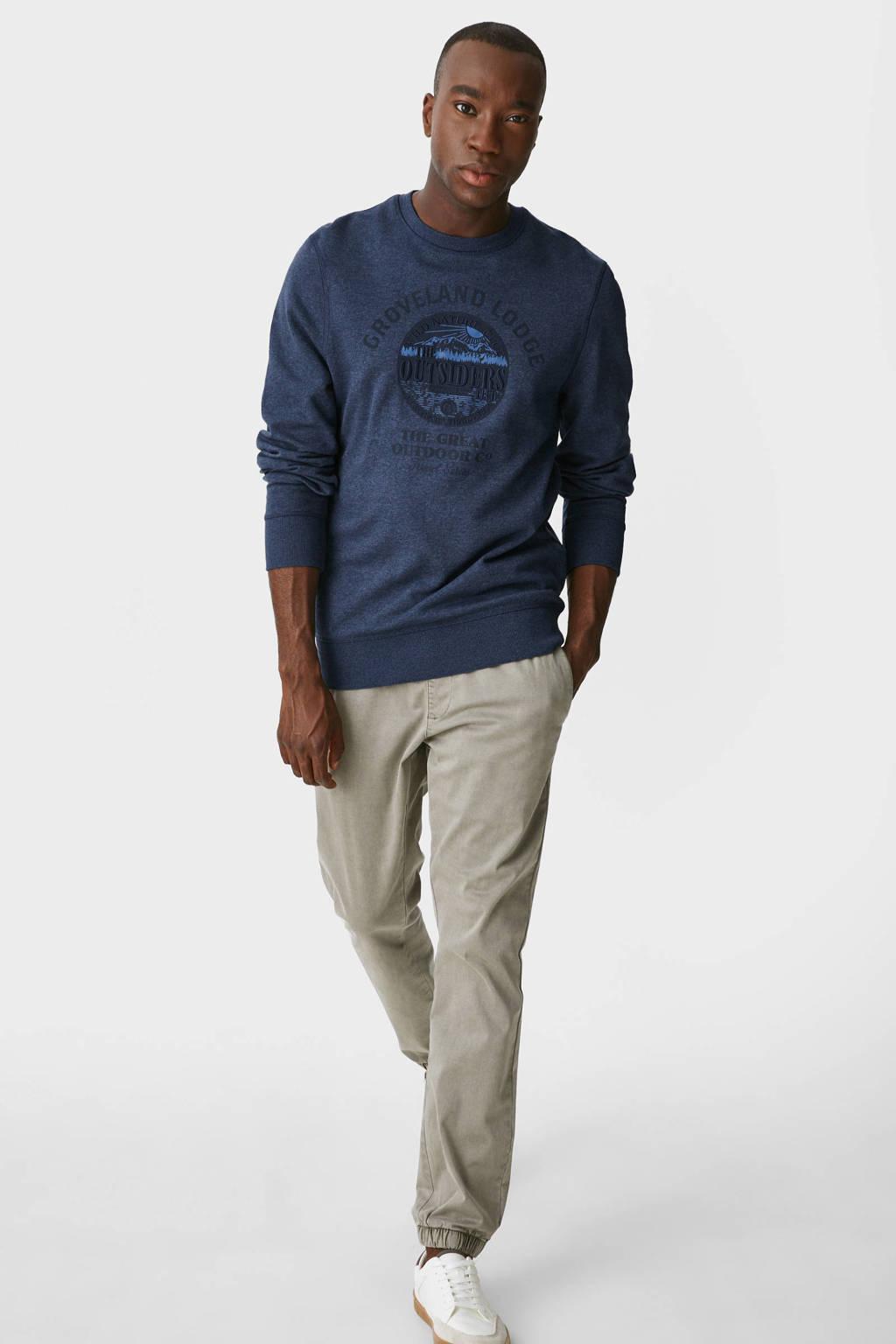 C&A sweater met printopdruk donkerblauw, Donkerblauw
