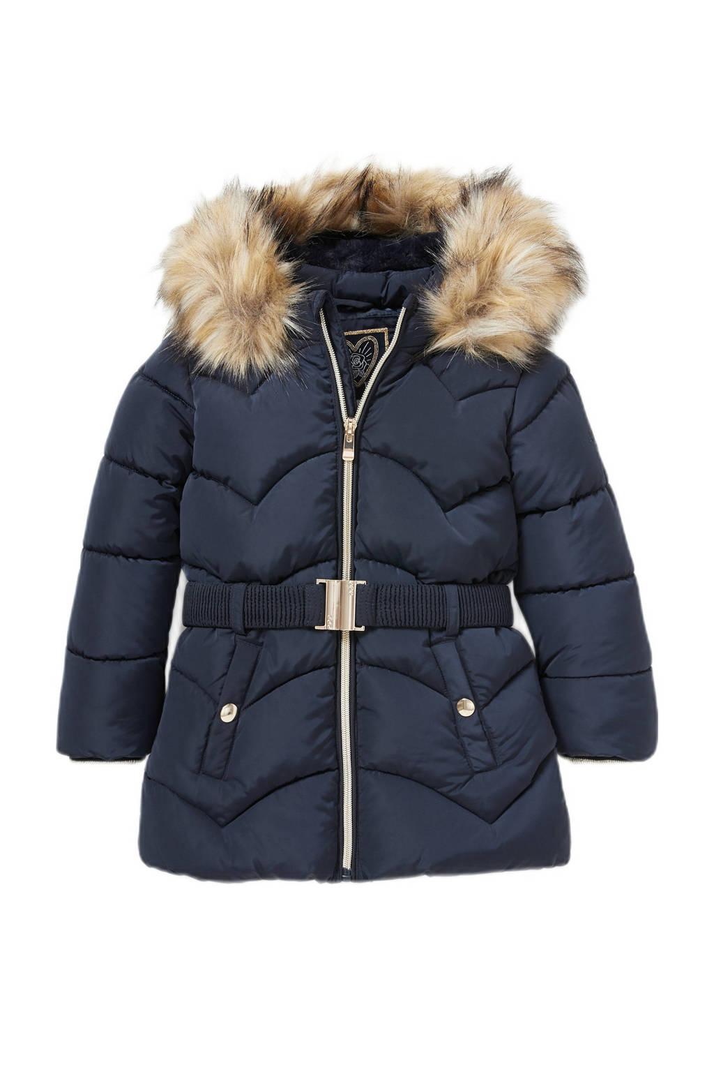 C&A gewatteerde winterjas met ceintuur donkerblauw, Donkerblauw
