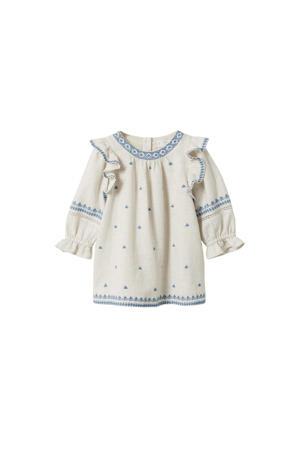 A-lijn jurk met all over print en borduursels pastelgrijs/blauw