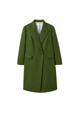 coat met wol groen