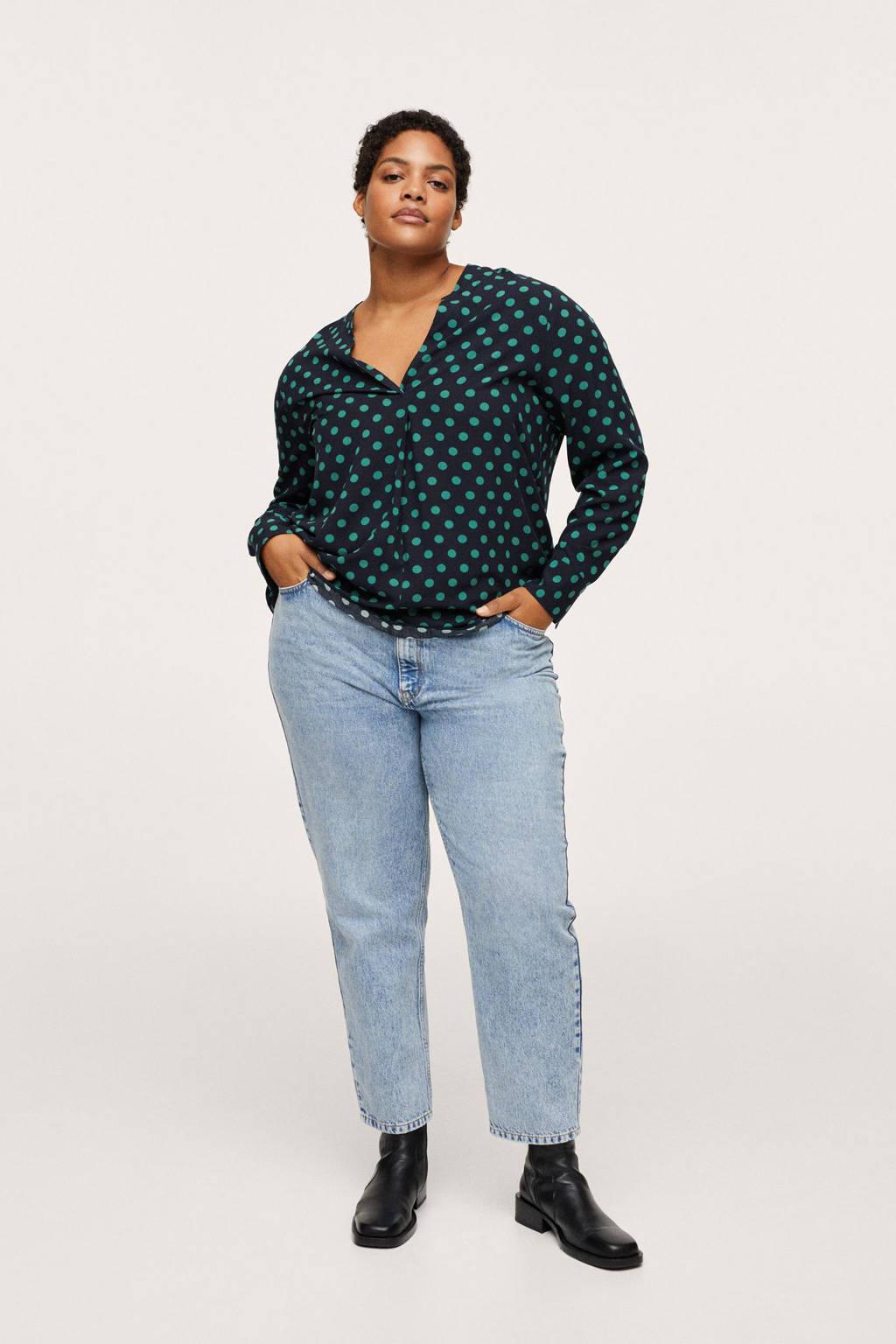Mango Plus Size geweven blouse met stippen donkerblauw/groen, Donkerblauw/groen