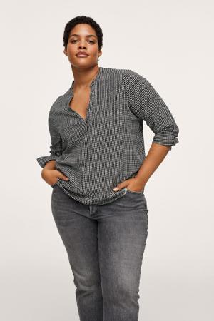 geruite geweven blouse zwart/wit