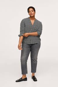 Mango Plus Size geruite geweven blouse zwart/wit, Zwart/wit