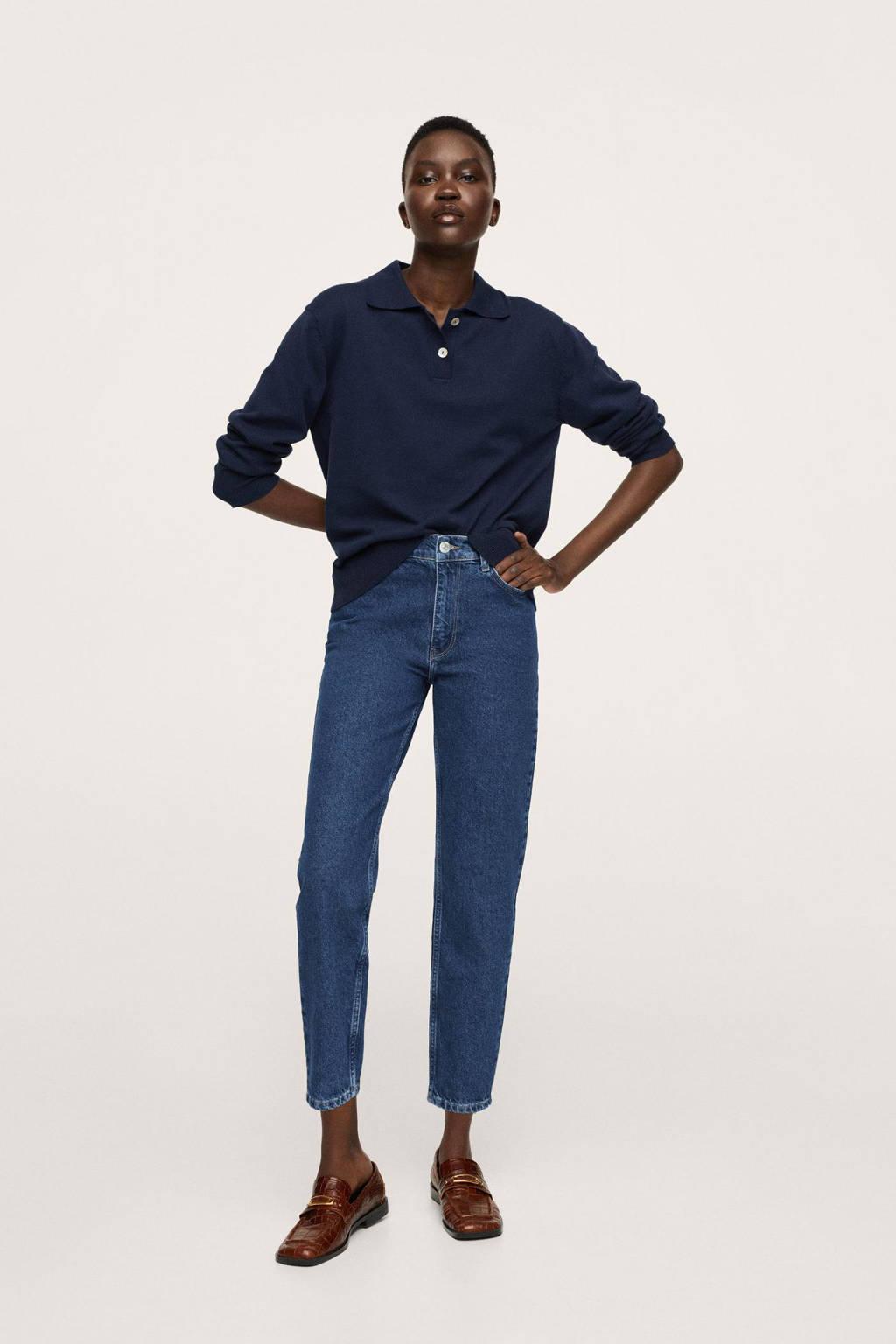Mango high waist straight fit jeans dark denim/middenblauw
