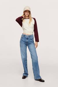Mango high waist straight fit jeans blauw, Blauw
