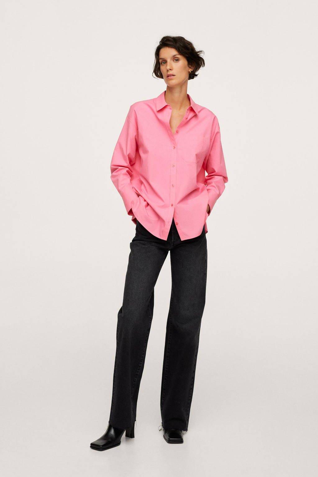 Mango katoenen blouse oversized roze, Roze