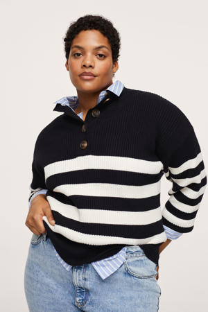 gestreepte ribgebreide trui zwart/wit