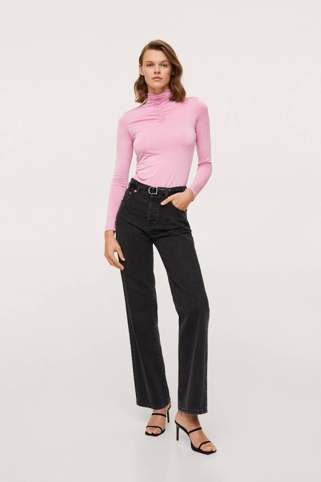 Mango T-shirt met plooien roze, Roze