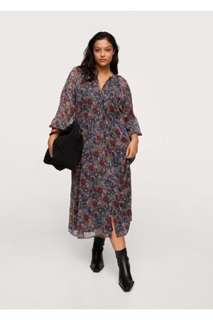 gebloemde semi-transparante jurk blauw/rood/ecru