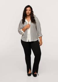 Mango Plus Size gestreepte geweven blouse wit/zwart, Wit/zwart