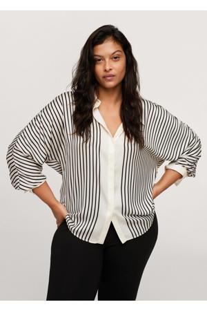 gestreepte geweven blouse wit/zwart