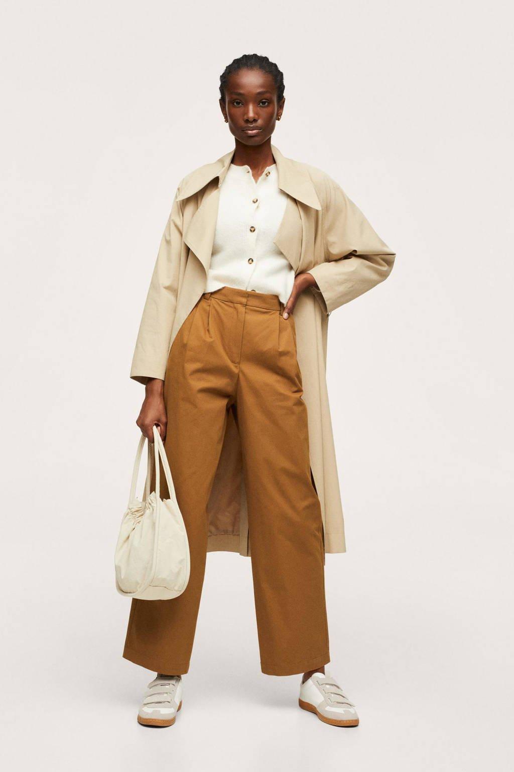 Mango high waist straight fit pantalon cognac/middenbruin, Cognac/middenbruin