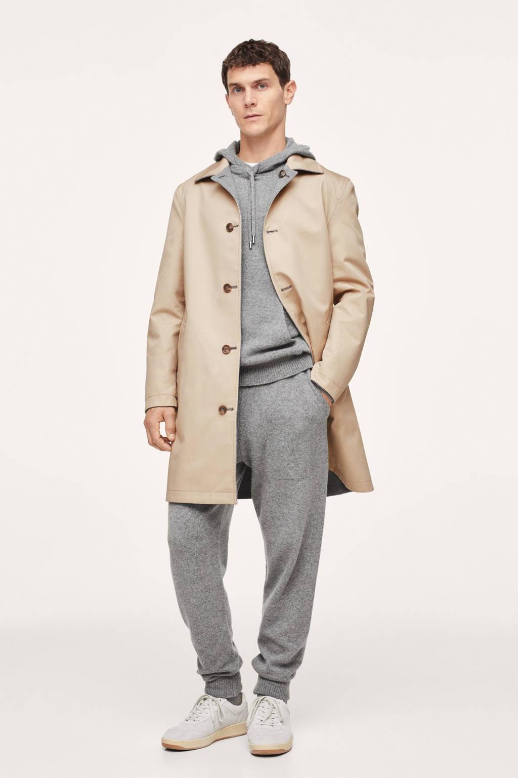 Mango Man regular fit broek met wol middengrijs, Middengrijs