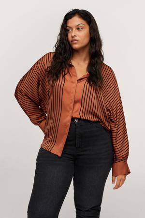 gestreepte geweven blouse bruin/zwart