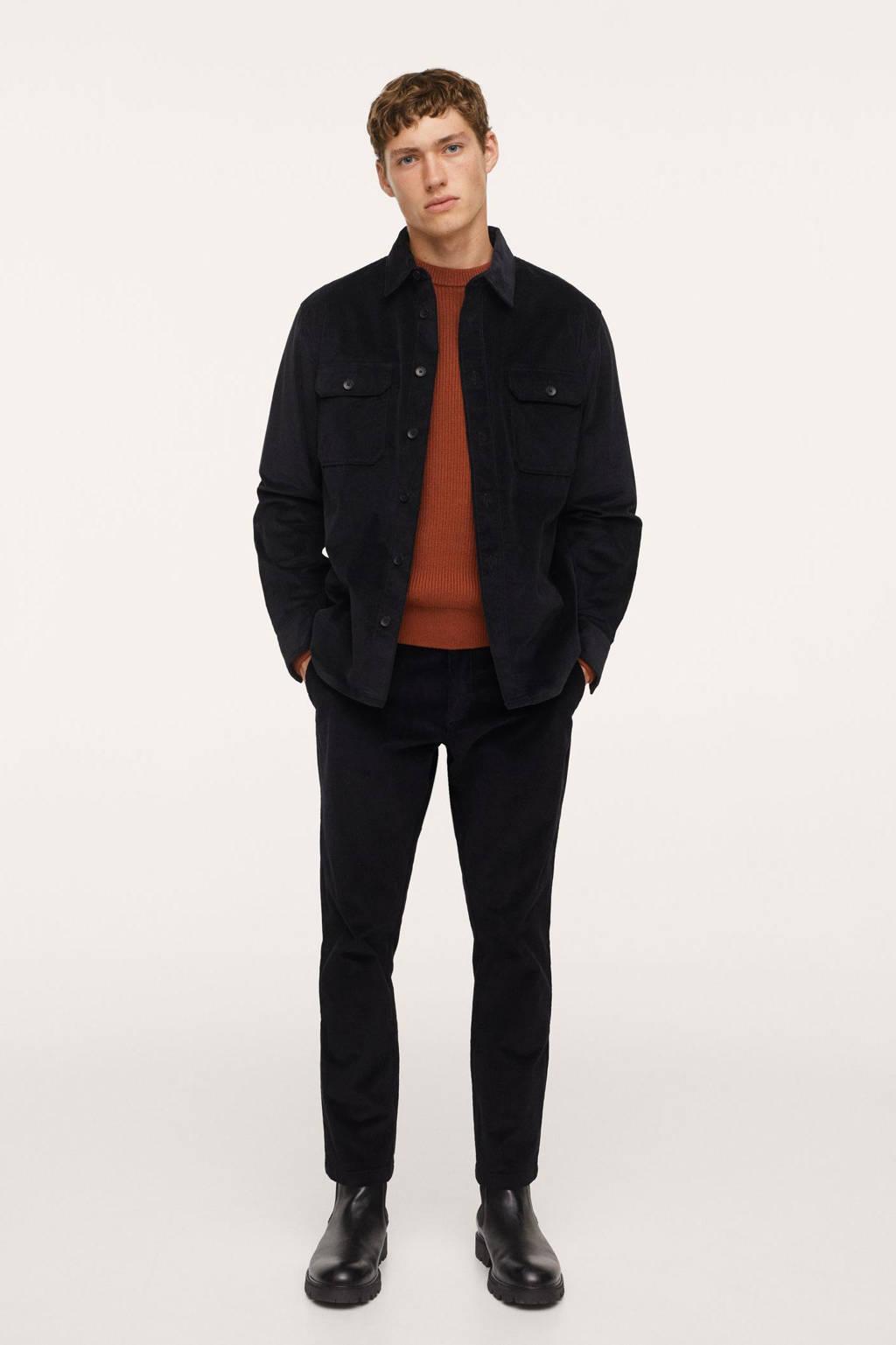 Mango Man corduroy tapered fit broek zwart, Zwart