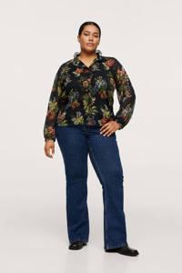 Mango Plus Size gebloemde semi-transparante blouse zwart, Zwart