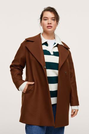 coat met wol bruin