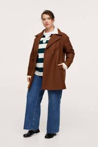 Mango Plus Size  coat met wol bruin, Bruin