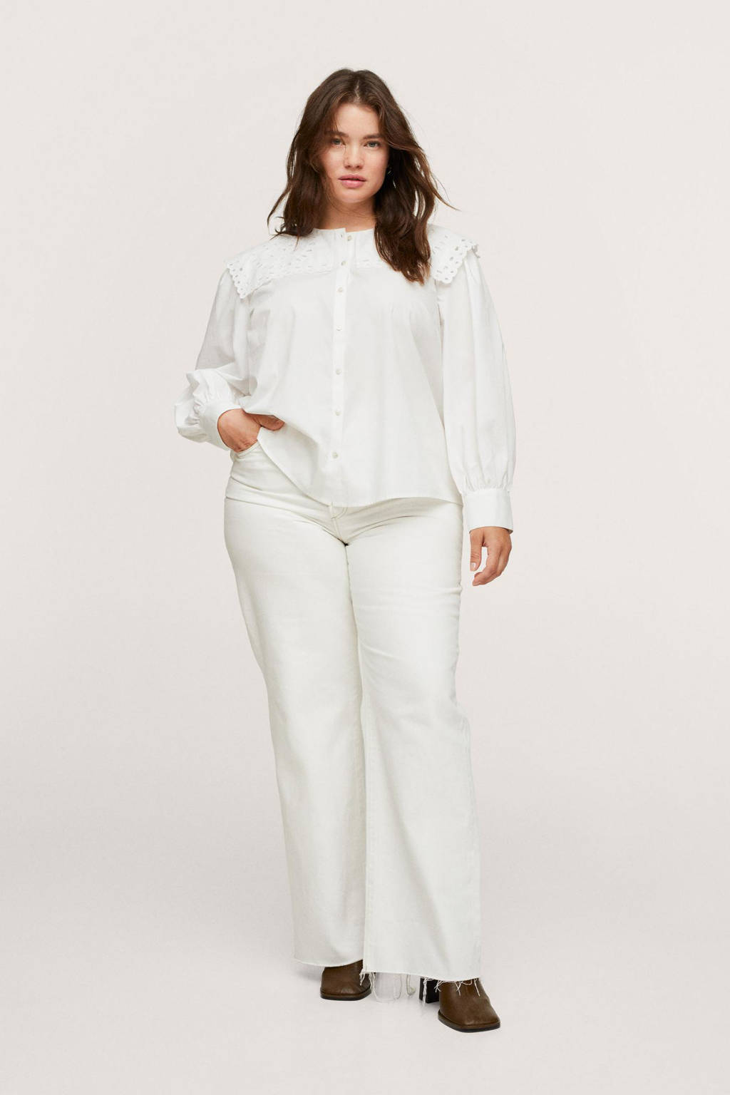 Mango Plus Size blouse wit, Wit