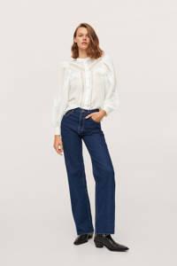 Mango semi-transparante blouse met borduursels white wash, White wash